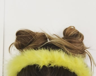 Yellow Fluffy Hair band perfect for Festivals !!!