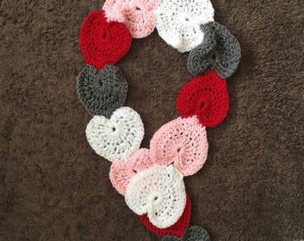 Crochet heart scarf