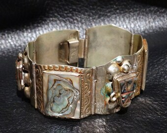 Mexican Silver Abalone Bracelet Vintage Midcentury