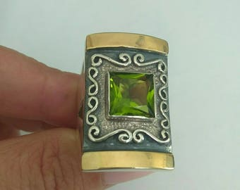 SALE! Silver Peridot Ring, Silver and Gold Ring, Yellow Gold Peridot Ring, Size 8.5 Green Stone, August Birthstone, Birthday, Gift (s 100