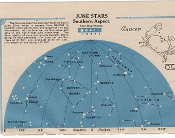 1920 CANCER star chart original vintage celestial astronomy lithograph - june stars southern aspect & july stars northern aspect