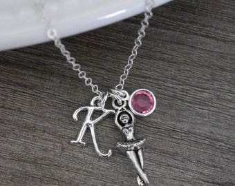 Ballerina Necklace, Personalized Ballerina Necklace,Ballet Necklace, Personalized Ballet Necklace, Ballet Jewelry Gifts, Letter Birthstone