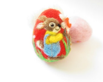 Easter Egg,Felted Egg,Needle felted Ornament,Spring Ornament,Easter Bunny.Bunny ornament