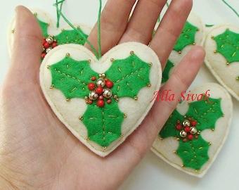 Heart Christmas decoration, Christmas decoration, Heart decoration, Felt Christmas ornament, Set of 5 Felt Heart Christmas Decoration, Heart