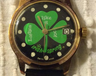Irish Spring Wrist Watch w/ Three 3 Leaf Clover Promotional Advertising Soap 1970's Wind-Up Advertising Swiss Made