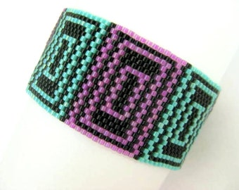 Peyote Pattern - Quadrat Design - INSTANT DOWNLOAD PDF - Peyote Stitch Bracelet Pattern - One Drop Even Peyote - Geometric Peyote Pattern