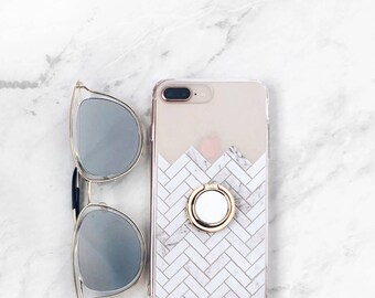 Phone Ring Holder Case With Stand Marble Herringbone Tile Clear iPhone 8 Case Grip Samsung Galaxy