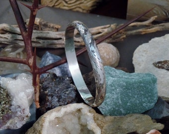 Silver Bangle Bracelet Etched and Hinged