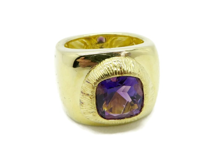 Amethyst Ring - Vintage Sterling Silver, Gold Plated Chunky Ring, Wide Band February Birthstone, Size 8