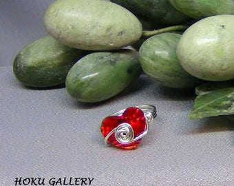 Wire wrapped / Red Heart Swarovski Crystal Button Ring - Sterling Silver - Size 5 1/2 - Hand Crafted Artisan Jewelry