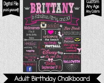 Fun 30th Birthday Chalkboard Sign - Digital - 30th Birthday Sign - Fabulous, Flirty, 30 - Whimsical Adult Chalkboard - Adult Birthday