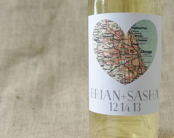"Square Map of Our Hearts-Personalized Wine Labels (4"") Free Shipping"