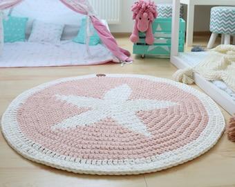 Sweet light pink star round rug, Stars rug Round area rug Nursery Rugs Skandinavische Teppich rund modern enfant Large Crochet floor Rug