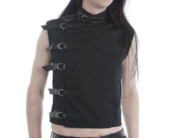 Men's Black Buckle Top Menswear goth gothic cyber fetish clubwear industrial punk sci-fi fantasy costume alternative post-apocalyptic
