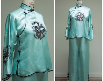 1930s Vintage Loungewear Set • Turquoise Dragon • Silk Satin Chinoiserie Deco Early 30s Shirt and Wide Leg Pants Size Small