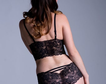 Black Lace Panties - Sheer 'Sugarberry' Style Underwear - See Through Lacy Made To Order Women's Lingerie
