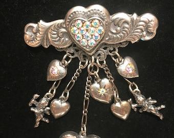 Vintage TOP SHELF JEWELRY Hearts and Cherubs Brooch