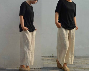 498---Loose Fitting Washed Linen Cropped Wide Leg Pants, Flax Linen Trousers, Ankle Length  Culotte, Gaucho Pants, Crop Pants.
