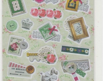 Fabric Feel Stickers - Lace and Buttons - Reference A4356