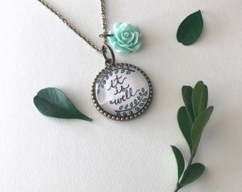 "It Is Well 1"" Pendant Necklace With Charm"