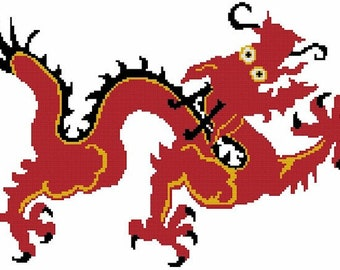 Chinese Red Dragon Counted Cross Stitch Pattern - Digital Download