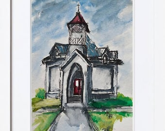 WHITE CHAPEL Red Door ORIGINAL Painting * Architectural Art * Original Watercolor * Historical Places Wall Art * White Church