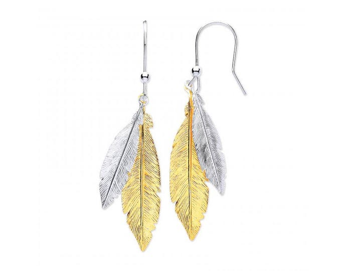925 Sterling Silver and Gold Plated Silver Feather Drop Earrings