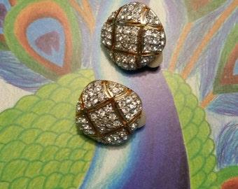 Beautiful Gold and Rhinestone Clip Earrings circa 1980