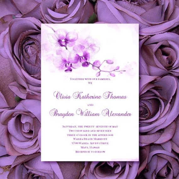 Purple Orchid Wedding Invitation Printable