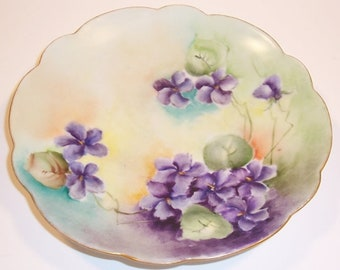 Small Hand Painted Porcelain Limoges Plate - France