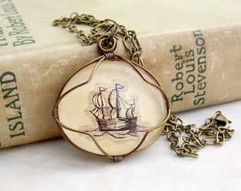 Sailing the Seven Seas - Sailing Ship Pendant - wire wrapped Nautical Necklace - Made to Order