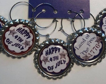 Patriotic 4th of July Flattened Bottle Cap Wine Charms, Wine Accessories, Party Favors, Bunco Prize, Stocking Stuffers - Set of 5