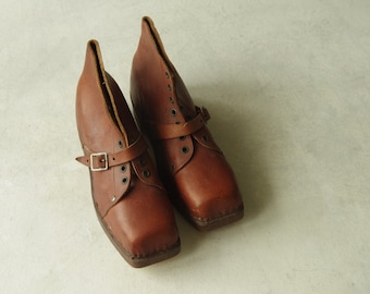 Antique Leather Shoes with wooden soles. Leather Short Boots. Bottine. Lace up Clog. Handmade Shoes. Display. Collectible