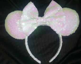 White Iridescent Minnie Ears