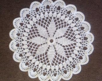 D-35(4). WHITE Doily MANDALA New Year Christmas White Crochet Round  Lace Doily crochet doily hand crocheted lace