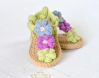 CROCHET PATTERN  Baby Sandals with Little Puff Flowers Instant Download Crochet Tutorial Intermediate Beginner