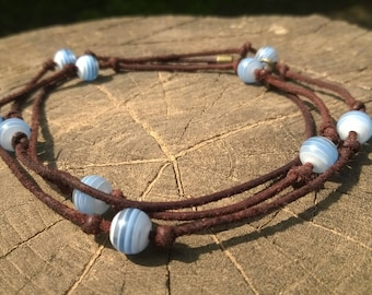 convertible strap leather and round beads necklace
