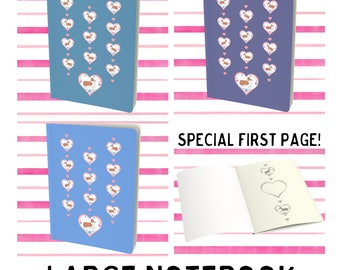 Corgi Puppy Dog Hearts Flowers Notebook Book Journal Diary Scrapbook Sketchbook - 3 colors!
