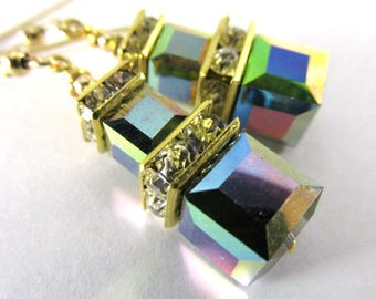 Swarovski Vitrail Medium Double Stack Multicolor Square Cube Earrings on 14k Gold Fill Wires - great bridesmaid earrings