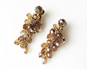 Dangle Aurora Borealis Bead Clip Earrings