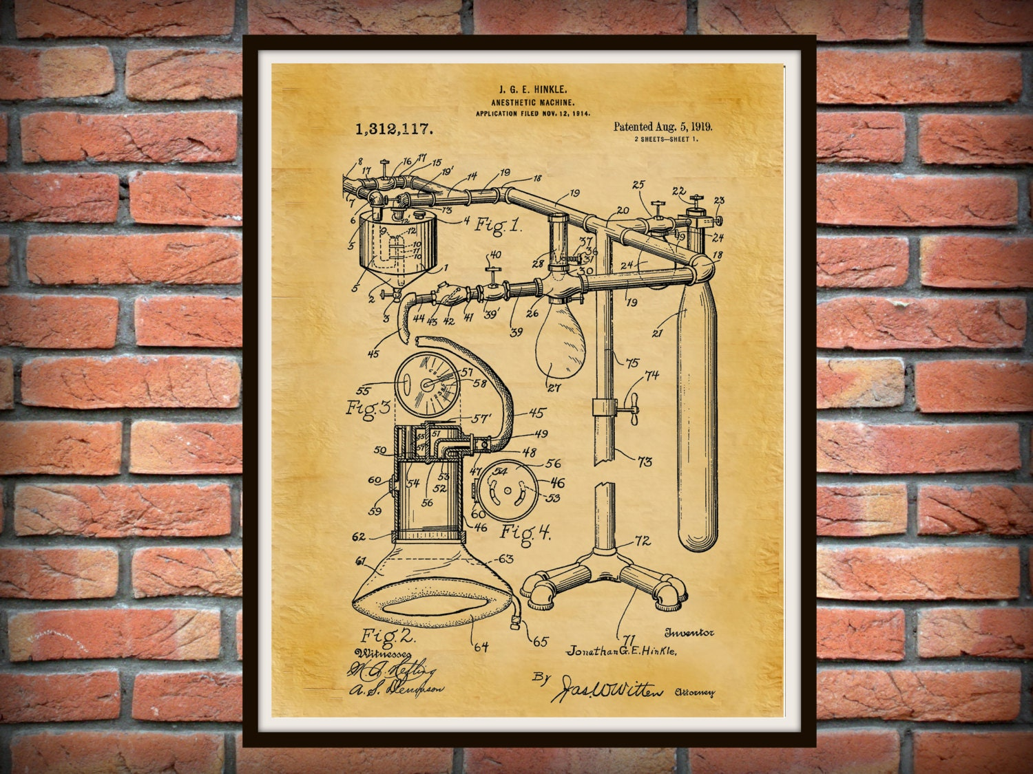 Patent 1919 Anesthetic Machine Art Print - Poster - Medical ...