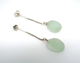 Genuine Sea foam Green Sea Glass 925 sterling silver Earrings Teal Hand Made Aqua Chandelier mermaid's tears beach coastal