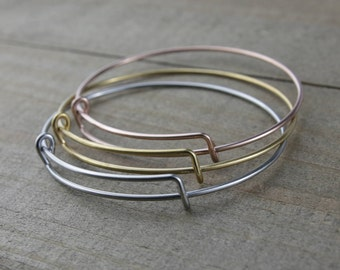 BULK 10 PIECES Stainless Steel Expandable Bangle Bracelet, Silver bangles, Gold bangles, Rose gold bangles, Stainless steel G45537