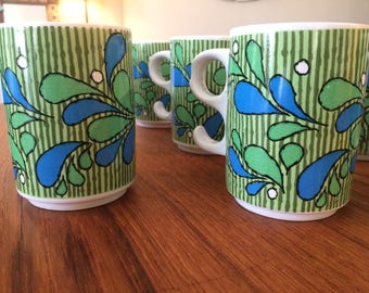 1970s mugs - groovy blue and green pattern - set of 10