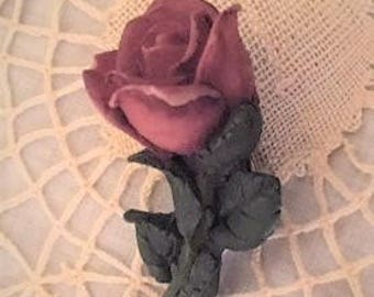 Vintage Rose Clay molded Brooch Pin