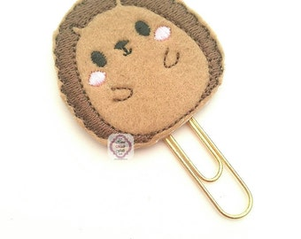 Felt Hedgehog Paper Clip -Porcupine Bookmark -Planner Paper Clip -Brown