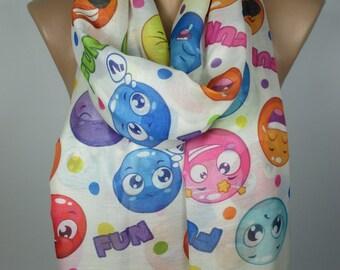 Emoji Scarf Women Fashion Accessories Christmas Scarf Lightweight Scarf Soft Scarf Gift Ideas For Her Christmas Gift For Her For Teens