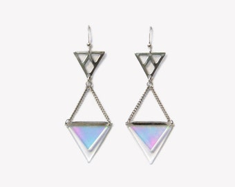 Holographic earrings with geometric triangle   BERMUDA hologram iridescent earrings   Minimal triangles earrings   Futuristic jewellery