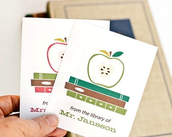 Teacher Bookplates, Personalized Book Labels for Teacher Gift // APPLE of my EYE