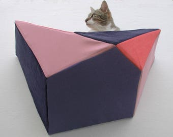 Geometric bed cat wall shelf in coral, navy, blush and indigo